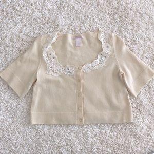 Rebecca Taylor Cream Cropped Cashmere Sweater